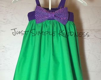 Girls Mermaid dress, Girls Dresses, Toddler Dress, Purple Green Dress, Baby Mermaid Dress, Ariel Dress, Baby girls dress, Purple Dress