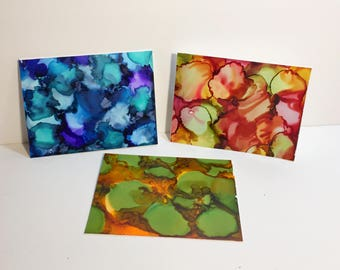 All Occasion Cards, Art Cards, Handmade Cards, Alcohol Ink Decor, Thank You Cards, Blank Cards, Colorful Cards, Cards with Envelopes