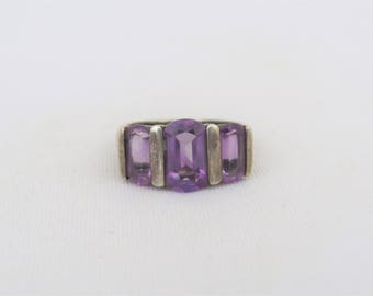 Vintage Sterling Silver Amethyst Three stone Ring Size 9