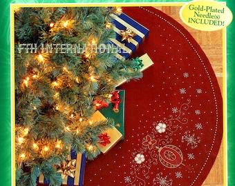 "Holiday Elegance 43"" Bucilla Felt Christmas Tree Skirt Kit #84308 Beaded DIY"