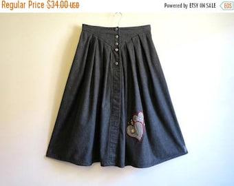 ON SALE Black Grey Skirt Denim Midi Skirt Pleated Dirndl Skirt Full Denim Skirt Denim Dirndl Skirt German National Costume Octoberfest Large