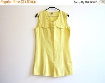ON SALE Vintage 1980s Yellow Mini Dress Sarafan Buttons Up Sleeveless Shirtdress Medium Size