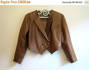 ON SALE Vintage 1980s Caramel Brown Jacket Womens Leather Jacket Rocker Blazer Cropped Real Leather Jacket Large Size