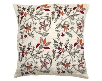 Embroidered Bengali CUSHION COVER - Richly Embroidered Floral design