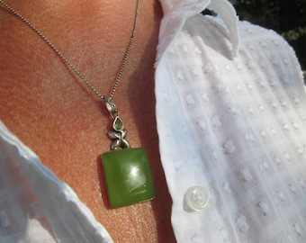 Green Agate, Peridot and Sterling Silver Necklace