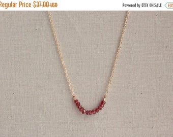 Close Out Sale 14k Gold Filled Garnet Gemstone Delicate Necklace