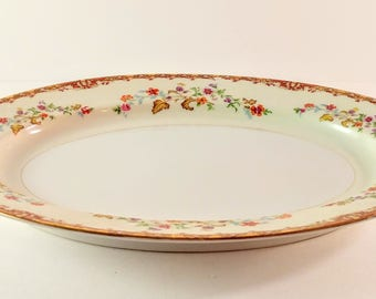 Vintage National China L' Automne 12 Inch Oval Serving Platter. White with Orange, Purple & Brown Flower Sprays. Shower and Wedding Gift.
