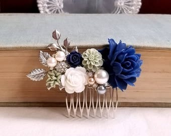 Silver bridal hair comb Navy blue sage green Rustic wedding hair comb floral comb Something blue