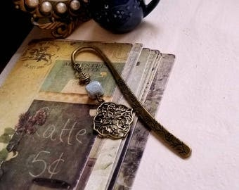 Czech glass and brass filigree charm bookmark Beaded bookmark Boho bookmark
