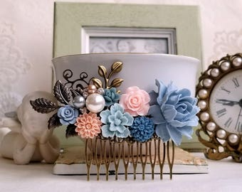 Dusty blue and pink flowers Pearl assemblage Something blue Rustic flower comb Shabby chic jewelry