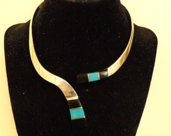 Sterling Silver Black Onyx and Turquoise Collar - 15""