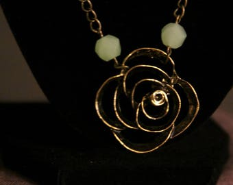 Rustic Gold Necklace with Rose Pendant