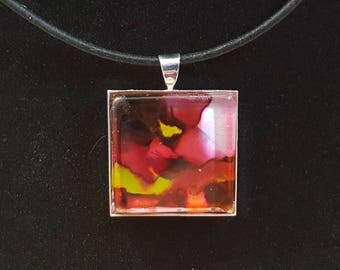 """Eye Candy Alcohol Ink Art 1"""" Glass tile Necklace Pendant keychain Zipper pull 1"""