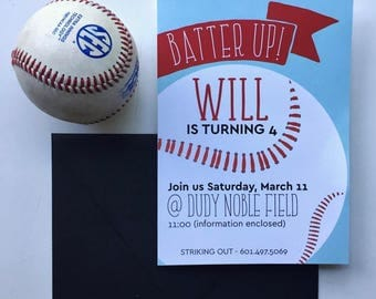 INVITATION Batter Up! Baseball Party Invitation