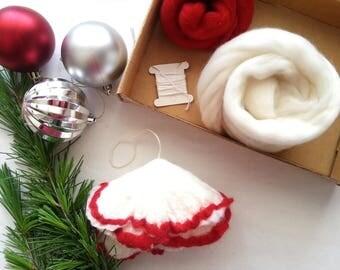 Christmas tree, craft kit, Christmas decoration kit, make your own felt christmas tree decoration, felting kit, christmas tree