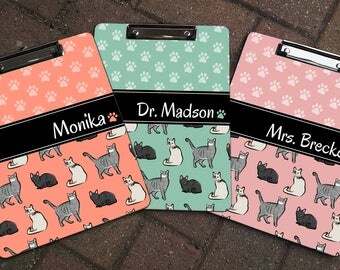 Personalized CATS Themed Clipboard - Cat Patterned Clipboard