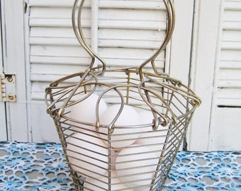 Vintage Farmhouse Wire Egg Basket with Pull Down Handles Farmhouse Country Decor