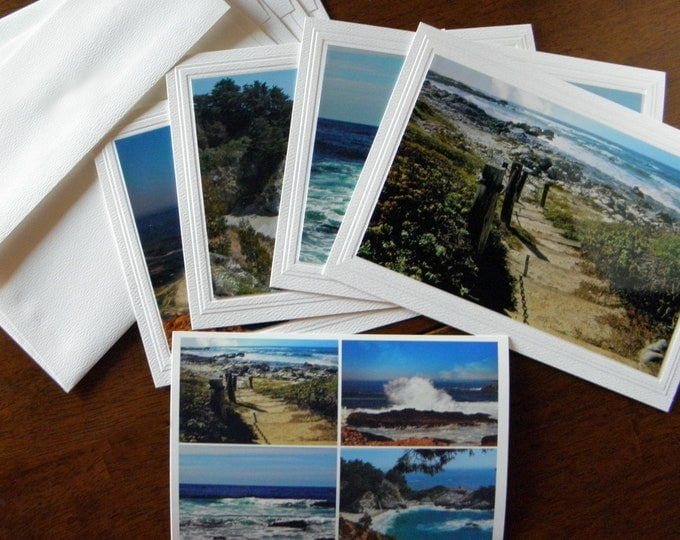 """PACIFIC OCEAN SEASCAPES: 4-Piece Photo Greeting Card Set titled """"Beachcomber"""""""
