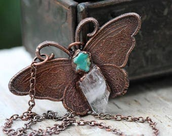 Crystal Necklace Butterfly Pendant Danburite Crystal Necklace Turquoise Pendant Electroformed Copper Necklace Stone Pendant