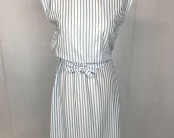 Lightweight Blue and White Striped Dress 50's Inspired