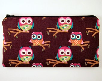 Brown Owl Zipper Pouch, Pencil Pouch, Make Up Bag, Gadget Bag