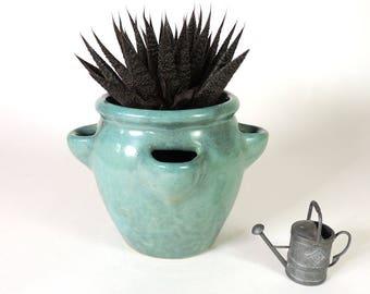 Zanesville Pottery Strawberry Jar Planter or Vase Vintage 1960's