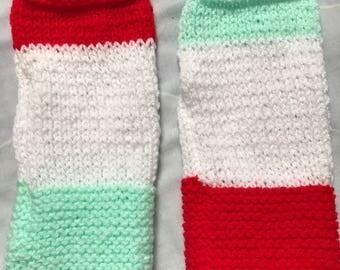 Tri Colour Gloves, Three Colour Gloves, Multi Colour Gloves, Rainbow Gloves, Wrist Warmers, Finger Free Gloves, Woolly Gloves, Yarn Gloves