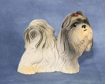 """Vintage Fine Ceramic Pekingese Dog Figurine 5.5"""" Tall"""