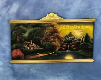 """Lovely 25"""" Vintage God Bless This Home Velvet Painting, Gold Frame, 1950s Religious"""