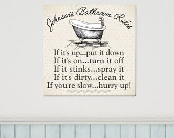 Personalized Bathroom Rules Canvas - Family Bathroom Rules Canvas Print - Bathroom Decor - Home Decor - Housewarming Gifts - CA0169