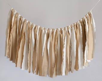 Fabric Scrap Banner, Fabric Garland, Scrap Garland, Fabric Strip Banner, Rag Tie Banner