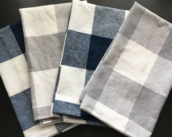 Checkered Tea Towel - Blue/White or Grey/White - Add Embroidered Initials or Name