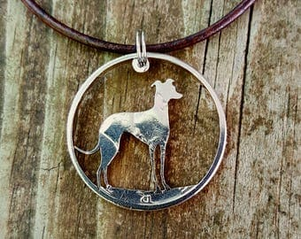 Greyhound dog pendant cut by hand from a half dollar coin jewelry