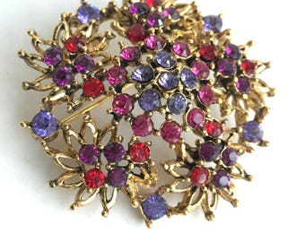 Large Gold Flower Brooch, Red, Purple and Pink Glass Rhinestones, Vintage Jewlery Pin With Glamour, Sparkle and Style