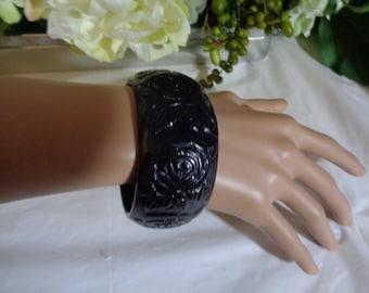 Black Carved Rose Wide Bangle Cuff Bracelet Lucite Heavy Plastic