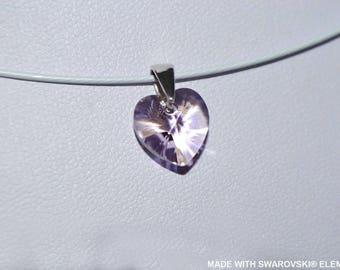 Pink SWAROVSKI Crystal heart pendant / 925 sterling silver