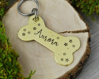 Hand Stamped Pet ID Tag - Dog Bone • Personalized Pet/Dog Tag • Dog Collar Name Tag • Custom Engraved Dog Tag
