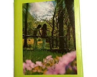70s DIARY Lime Green Vintage JOURNAL Sweet 16 Gift Daytimer Planner Note Book Romantic Trees Forest Lovers 1970s Stationery Writing Notebook