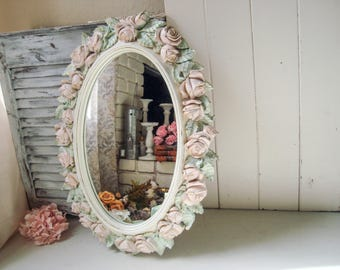 Shabby Chic Oval Cream and Blush and Mint Vintage Rose Mirror, Pink and Mint Oval HOMCO Floral Ornate Mirror, Blush Pink Nursery Mirror