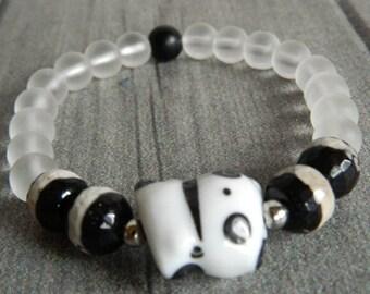 Braselet with ceramic teddy bear panda, quartz, black agat, braselet for good luck, braselet for summer