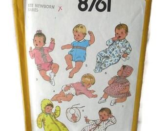 Simplicity 8761 Babies Layette Newborn