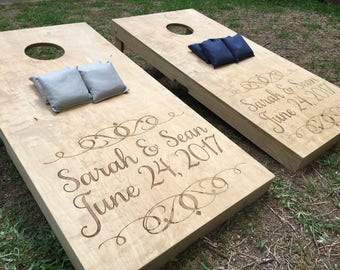 Custom Engraved and Stained Cornhole, Bean Bag Toss, Corn Toss, Wedding Game, Cornhole Boards, Stained Cornhole Boards, Stained Cornhole