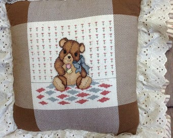 Hand Made Teddy Bear Cross Stitch Nursery Pillow, 12 inch square, brown tones