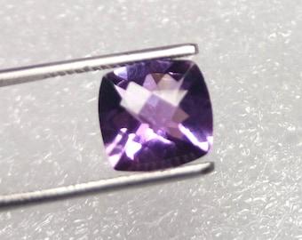 Purple Amethyst Faceted Gems - 10x10x6 mm Cushion Cut Gemstone - Faceted Gemstone - Purple Amethyst Stones Checker cut gemstone