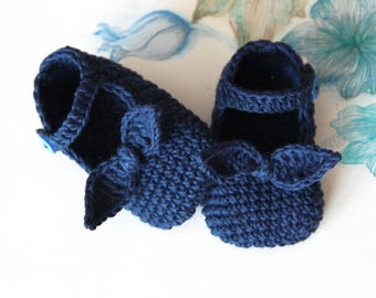 MIMI Crochet Bow Baby Shoes and Headband, Navy Blue, Cotton, Mary Jane Baby Shoes, Size 0-3, 3-6, 6-9 months, Ready to Ship
