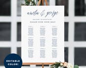 6 Sizes Wedding Seating Chart Template, Editable Wedding Table Seating Chart Poster Sign - PDF Instant Download - Name Calligraphy