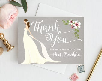 Bridal Shower Thank You Cards - Folded Thank You Cards - Custom Thank You Cards - Wedding Shower - From The Future Mrs. Card - Free Shipping