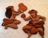 Vintage Hawaiian Hula Dancers Aloha Wood Art by Le Family Tiki Wall Decor