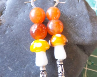 Hand Crafted Sterling Silver and Hand Blown Glass Earrings