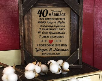 Framed 40th Wedding Anniversary Gift | Love | Valentines Day | Personalized | Burlap | Parent's Anniversary Gift | Grandparent Gift | 258